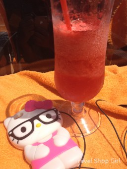 Hello Kitty enjoying a Frozen Strawberry Daiquiri at The One Pool