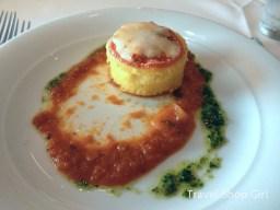 Roasted Garlic Polenta Cake with Tomato Basil Sauce