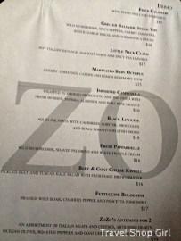 ZoZo's menu