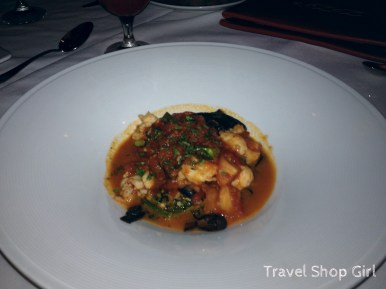 Black Linguine: Squid ink pasta with Caribbean lobster, broccolini and roma tomato shellfish brodo