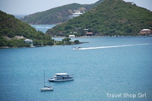 Seaplane in the forefront and the Caribbean Princess docked in the background at Crown Bay
