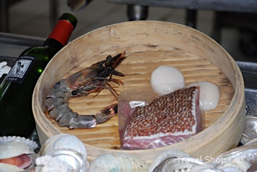 """Sea"" selections included salt prawn, local red snapper, and scallops"