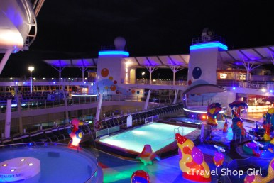 H2O Zone and Pool on Deck 15 at night