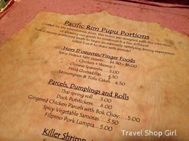 Rhumb Lines menu - Pacific Rim Pupu Portions