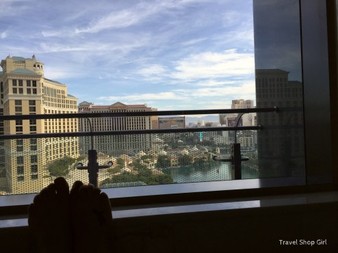 View from Japanese soaking tub in Terrace One Bedroom at The Cosmopolitan