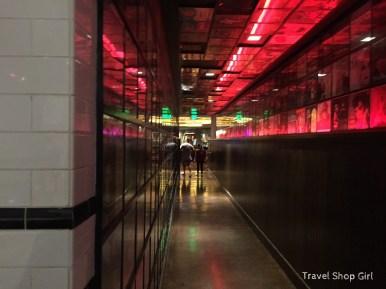 Looking back toward hallway from inside Inside Secret Pizza