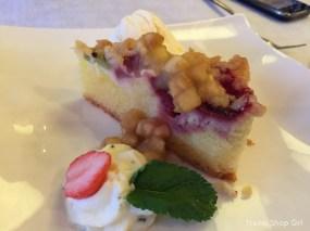 Apple & Rhubarb Cake with vanilla ice cream