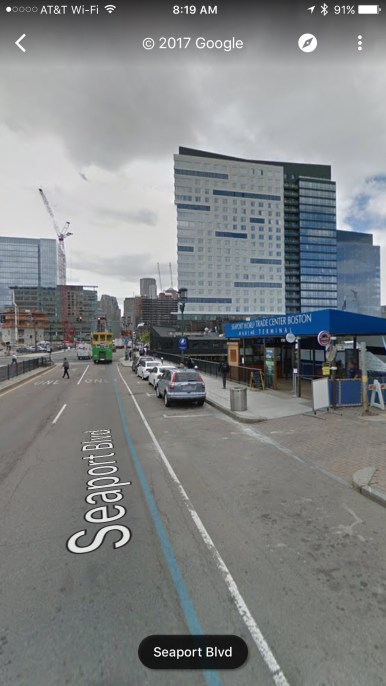 Google Maps image of Seaport Boulevard in front of Bay State Cruise Company location