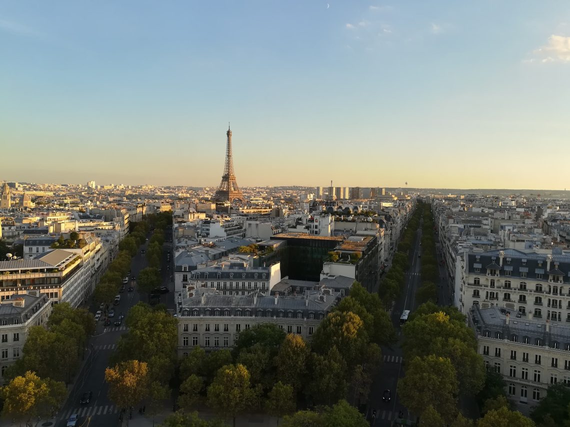 A view of Paris and the Eiffel Tower from the Arc de Triomphe
