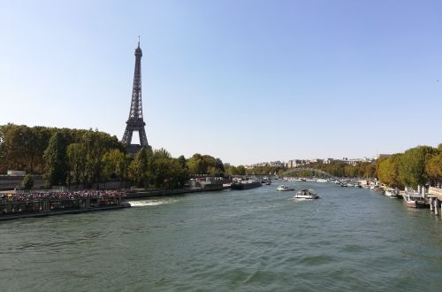 Eiffel Tower as seen from over the Seine in Paris France