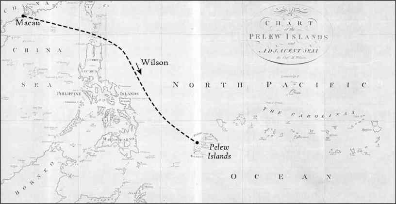 Chart of the Pelew Islands and Adjacent Seas, and detail, from George Keate [and Henry Wilson], An Account of the Pelew Islands, Situated in the Western Part of the Pacific Ocean, 2nd ed. (London: Nicol, 1788), with Captain Wilson's approximate route added by Joseph Stoll, Syracuse University Cartographic Laboratory, in collaboration with Ken Frieden