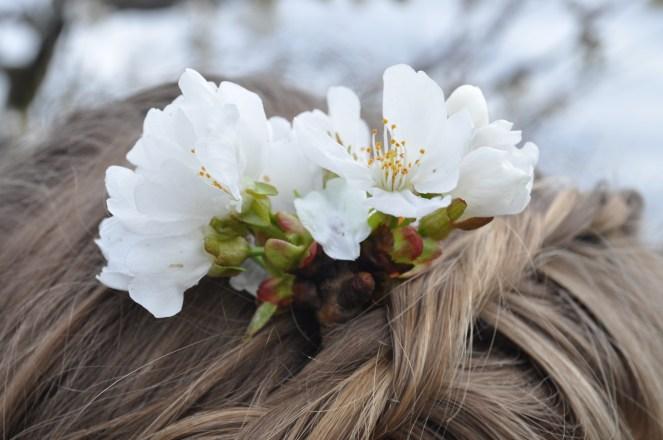Flower, hair, cherries