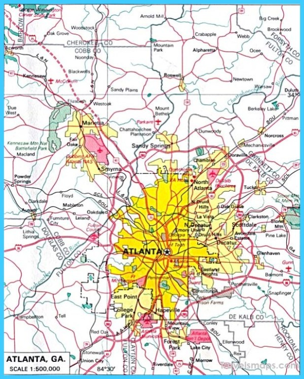 Map of Atlanta Georgia TravelsMapsCom