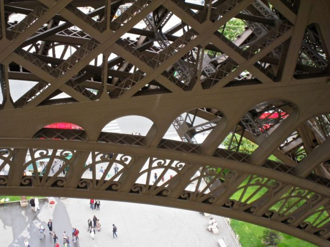 Lacy ironwork of Eiffel Tower