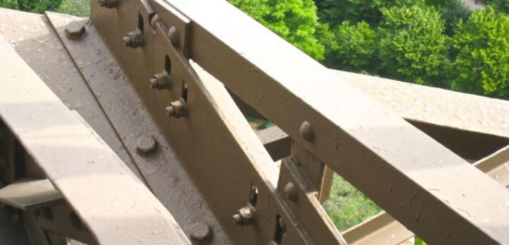 Closeup of bolts and rivets on the Eiffel Tower