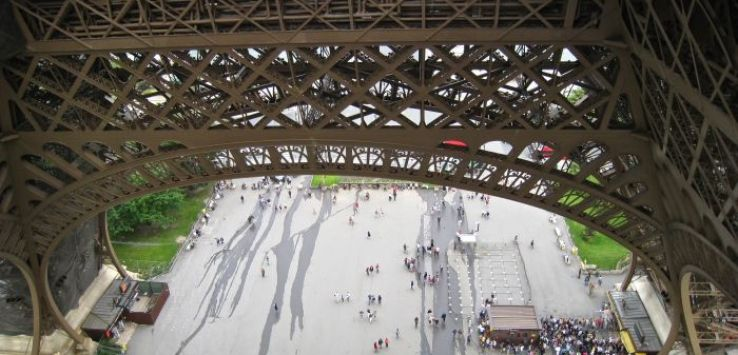 View of ticket queue from Eiffel Tower