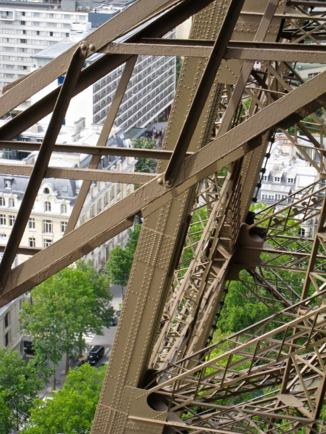 Eiffel Tower with traditional and modern buildings below