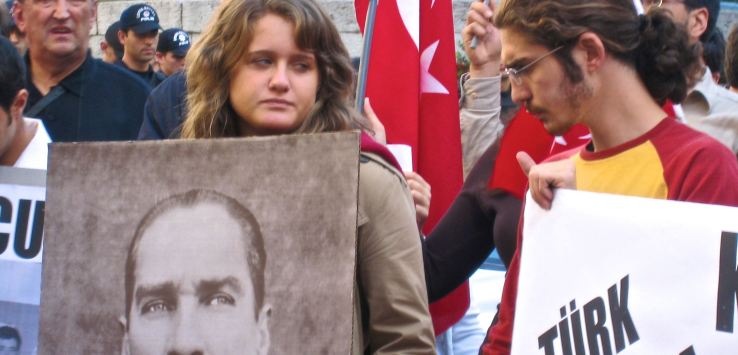 People of Istanbul-Protester holding Ataturk photo