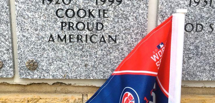 National Cemetery: Cubs flag at a columbarium