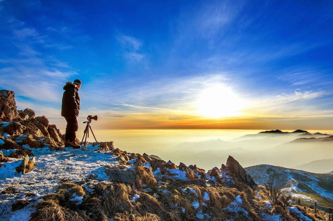 Photographer on a solo photo shoot