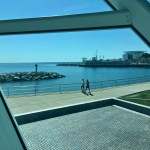 "Milwaukee Art Museum: From the ""prow"" of the ship, visitors have a view of Lake Michigan. Discovery Center is to the right. (Photo credit: Suzanne Ball. All rights reserved.)"