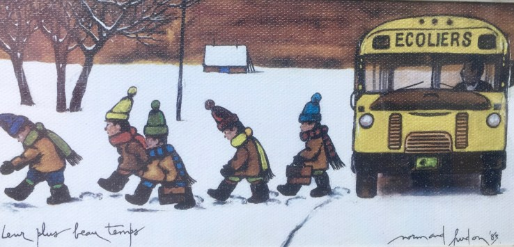 Quebec City: The long winters are humorously depicted by an artist who understands what school kids experience. (Photo by Suzanne Ball. All rights reserved.)