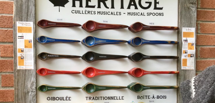 Quebec City: French-Canadians make music with carefully carved wooden spoons, honoring their heritage. (Photo by Suzanne Ball. All rights reserved.)