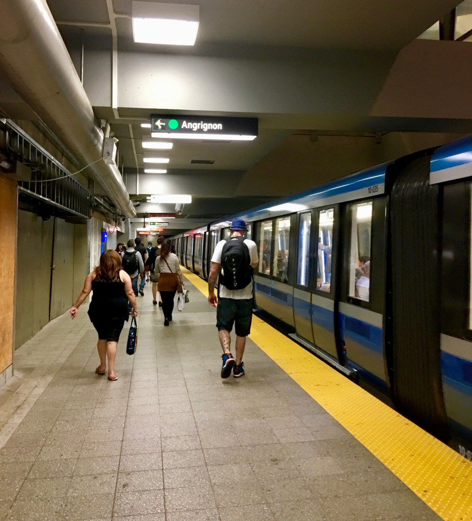 Metro Subway: Once you're at the platform, look for signs telling you how long before the next train in the direction you want. When the train arrives, simply step into a car. (Photo by Suzanne Ball. All rights reserved.)