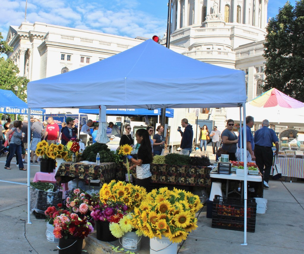 U.S. Destinations: Madison Farmers Market. Give yourself plenty of time to walk around the Capitol and see all the products. (Photo by Suzanne Ball. All rights reserved.)