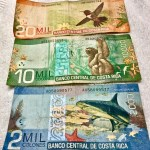 Foreign currency: The Costa Rican currency is the colón. Bills are colorful, with a picture of wildlife on each denomination. (Photo by Suzanne Ball. All rights reserved.)