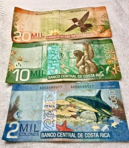 The Costa Rican currency is the colón. Bills are colorful, with a picture of wildlife on each denomination.