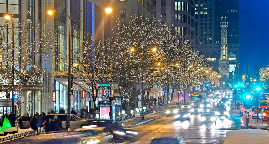 The city at Christmas: No half-hearted effort when it comes to lighting up the streets! Chicago's Magnificent Mile blazes with tiny white lights. Beautiful!