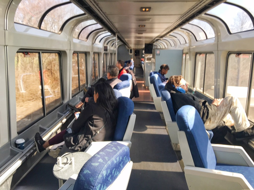 Amtrak Train Tips: Get out of your compartment and go to the observation car. You'll see America--pretty and ugly--go by. What an experience! (Photo credit: Suzanne Ball)