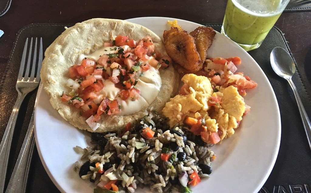 Gallo Pinto is the anchor--and the star--of a Costa Rican breakfast. (Photo by Suzanne Ball. All rights reserved.)