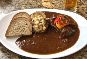 Czech dumplings with beef goulash