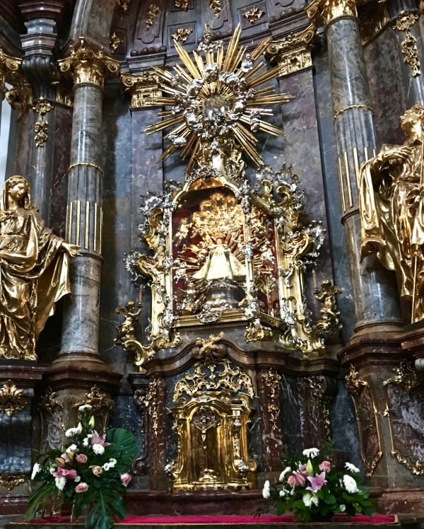 The Infant Jesus of Prague is displayed in the Our Lady Victorious Church (Our Lady of Victory) in Prague. Walk right in!