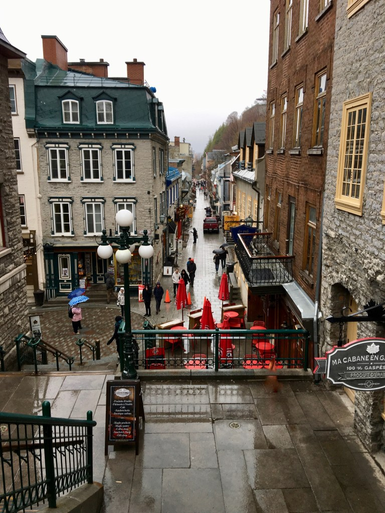 """View of Rue du Petit Champlain from the top of """"Escalier Casse Cou""""...the Breakneck stairs."""