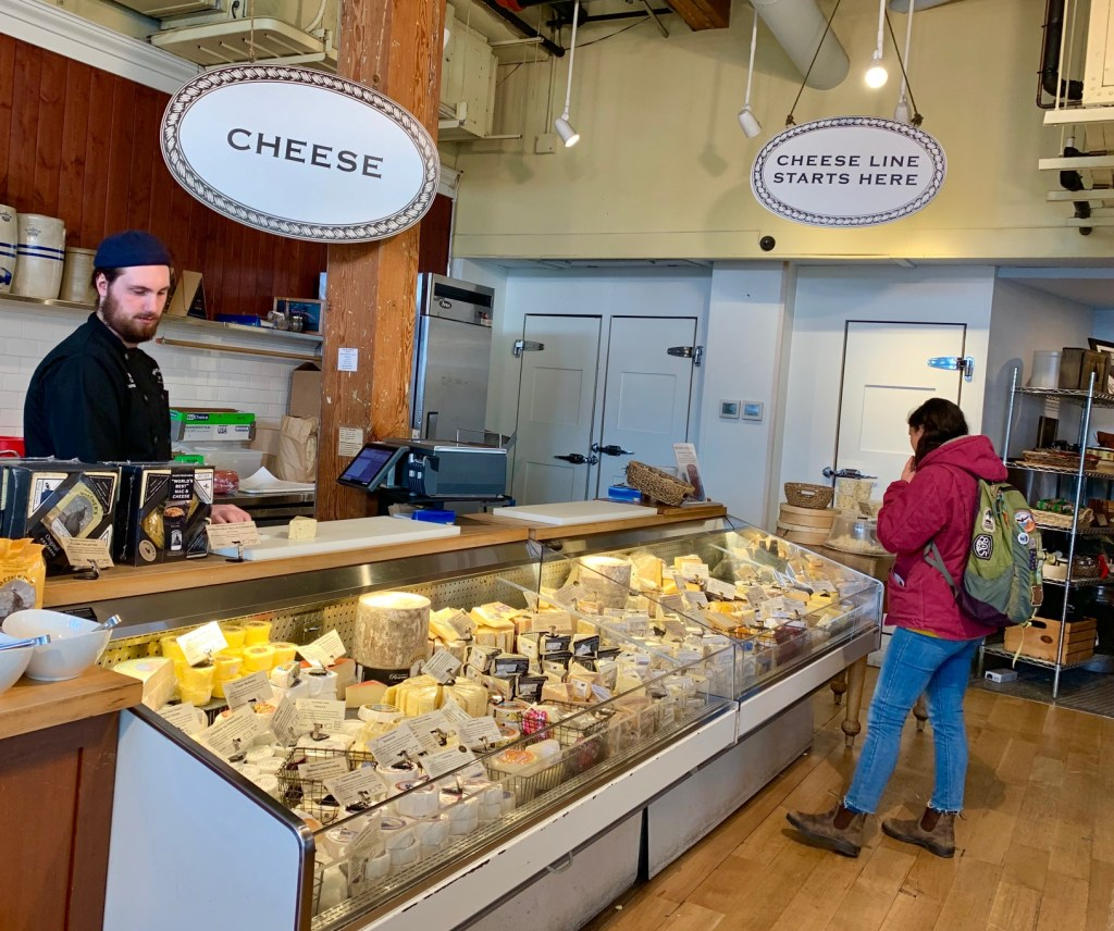 Beecher's Handmade Cheese has a large inventory of its own products, as well as those from other Pacific Northwest artisans.