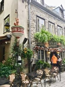 "Le Lepin Saute (Jumping Rabbit) is a ""resto"" on Rue du Petit Champlain."