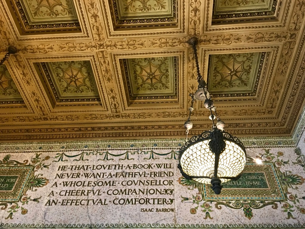 The Chicago Cultural Center started as the city's public library. Beautiful mosaics with quotes about books line the stairways and public spaces.