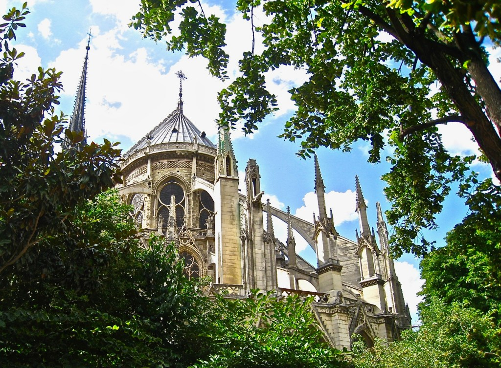 Famous for its flying buttresses, which lent support to the heavy stone walls, historians debate whether Notre Dame Cathedral was the first to use them.