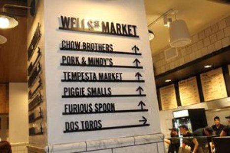 One of the newest Chicago food halls is Wells Street Market. Eat there--or cross the street for a picnic!