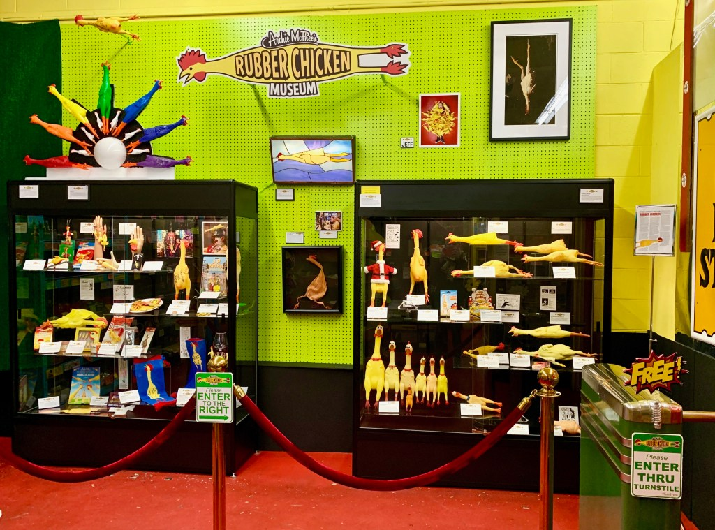 Archie McPhee proudly offers visitors the FREE Rubber Chicken Museum experience!