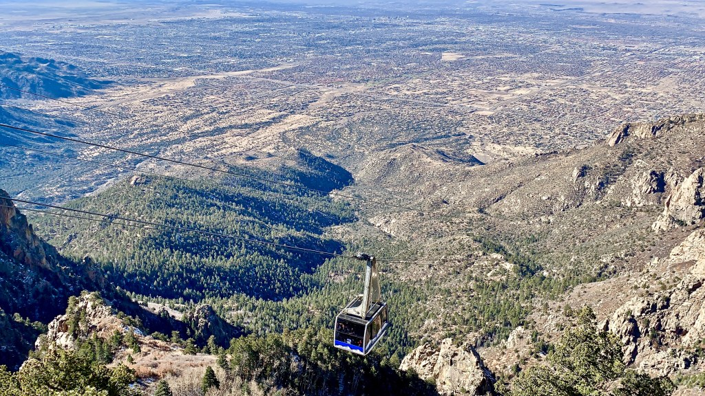 Sandia Peak Tram travels to an elevation of 10,378 feet. The ride itself is exhilarating!