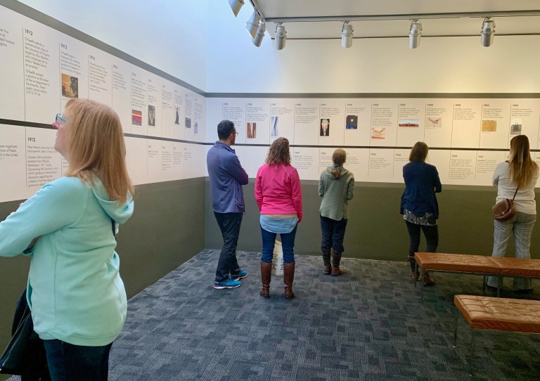 Georgia O'Keeffe Museum starts with a timeline of the artist's life.