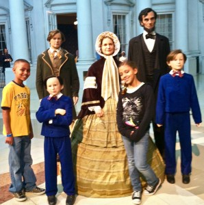 At the Lincoln Museum: Wax figures of the Lincoln family are so realistic, that Payton was hesitant to stand too close!