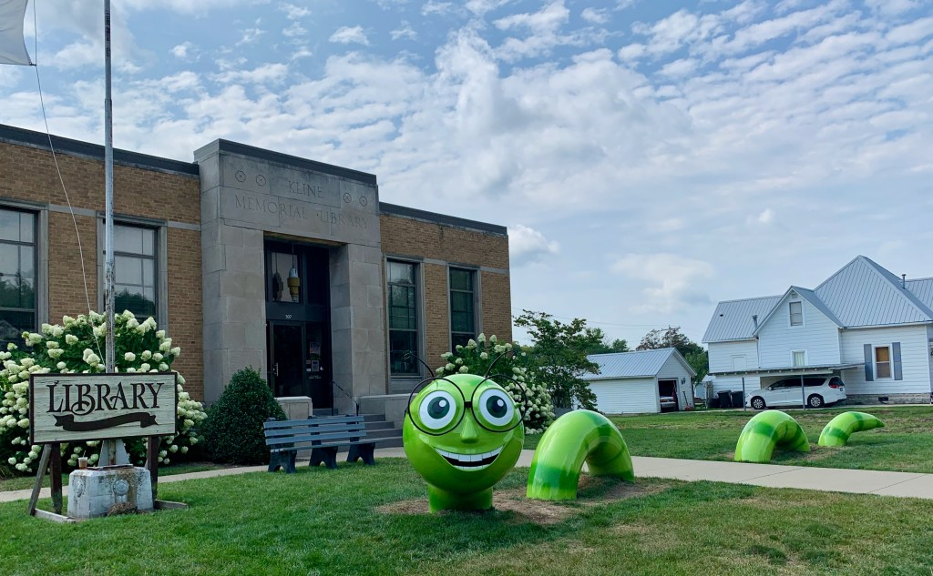 Recycled pipes make the big green bookworm outside the town's library in Casey, Illinois.
