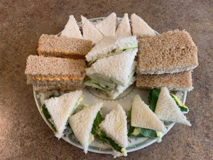 Sandwiches for Afternoon Tea are delicate and crustless.