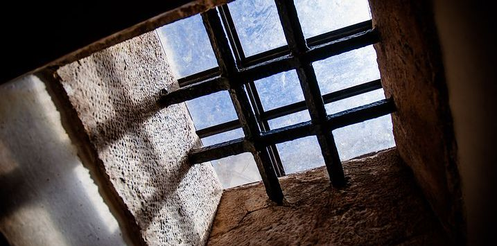 Looking up through a prision cell
