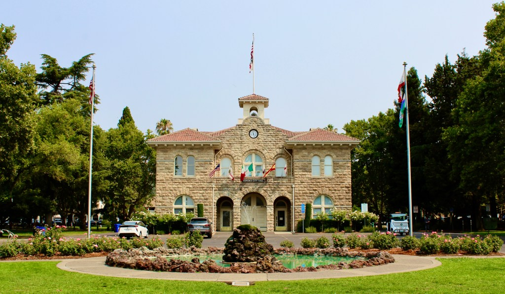 Sonoma Plaza--where California began, is where the city hall is located.